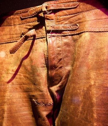 Jim Morrison's leather pants in detail. Note crotch stitches. Too much mojo risin' perhaps?
