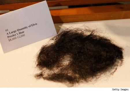 Elvis Presley's certified hair being auctioned off. Just don't ask me what part of his body it was taken from.